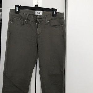 Paige skinny olive green low rise jeans